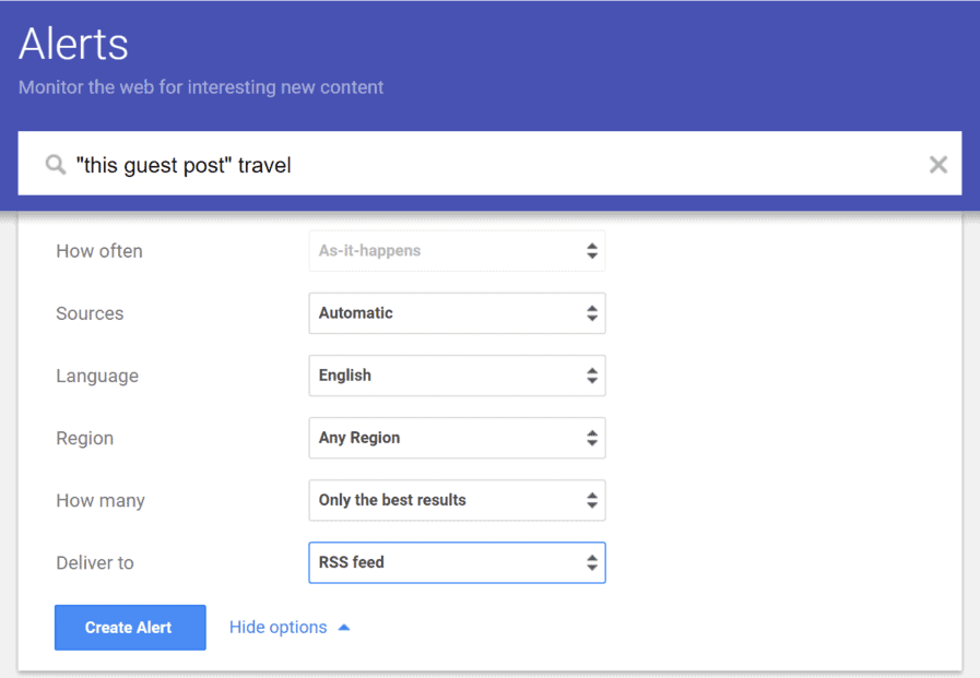 final Google Alerts settings