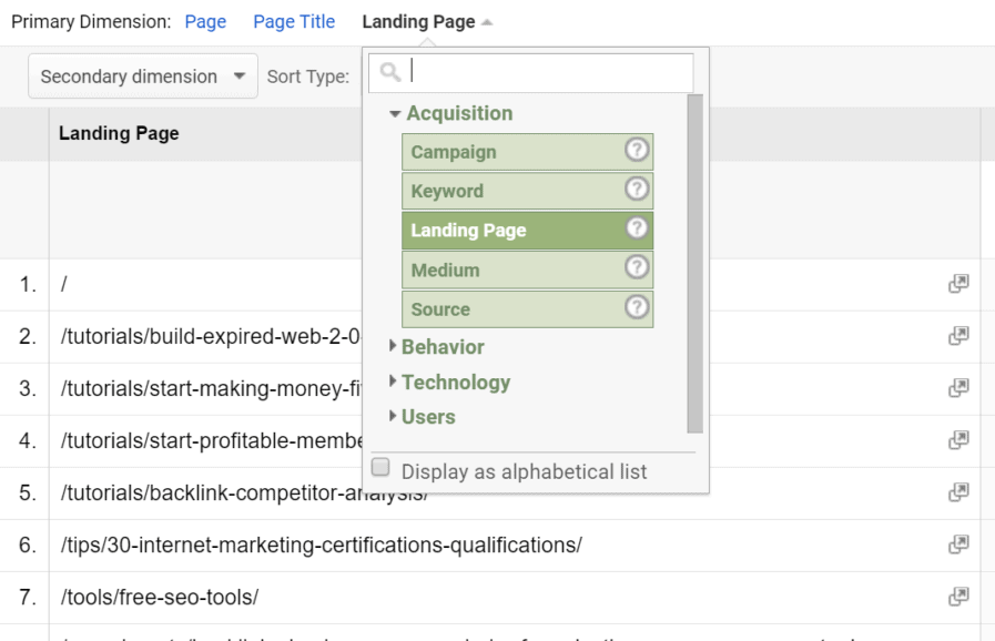 landing pages report