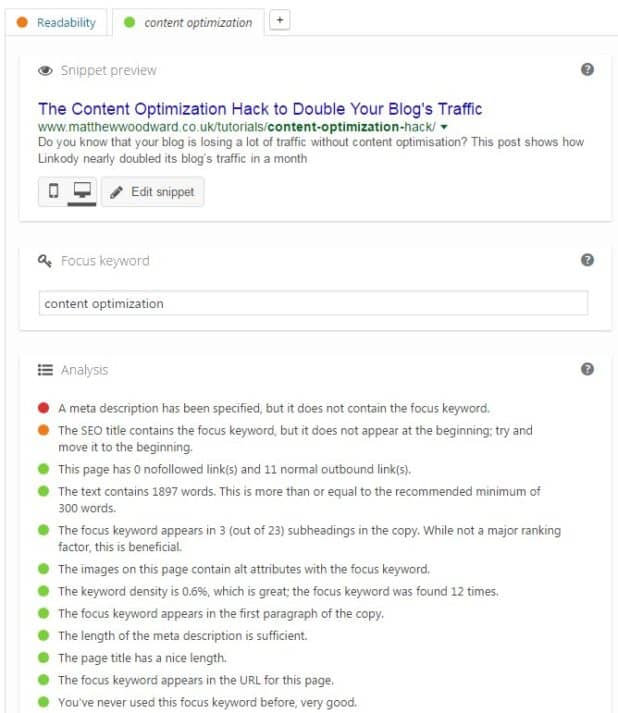yoast seo content optimization