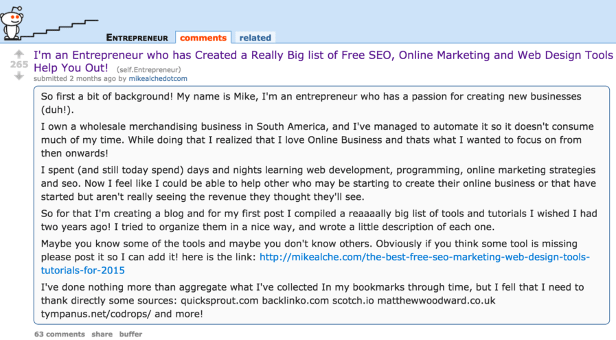 reddit backlinks sociale