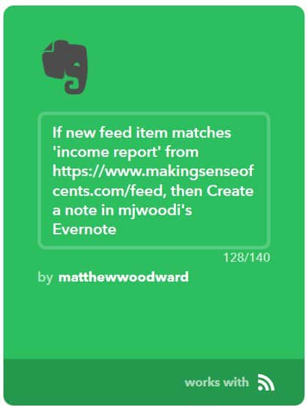 my income report roundup ifttt recipe