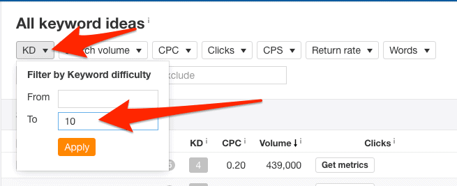 kd filter keywords explorer