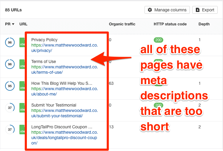 meta description issues