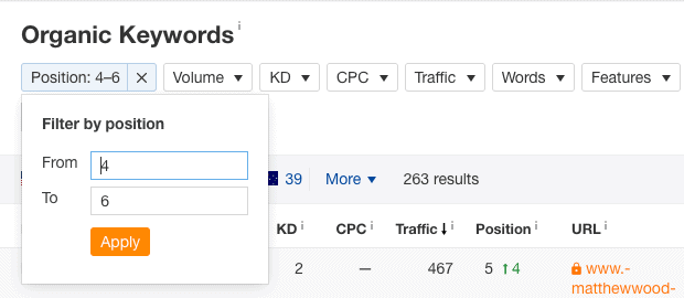 positions filter organic keywords