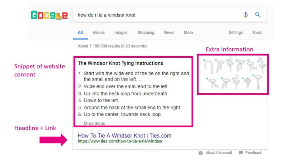 windsor knot search results highlighted