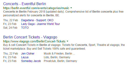 event rich snippets