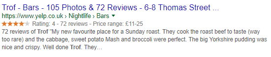 reviews and ratings rich snippets