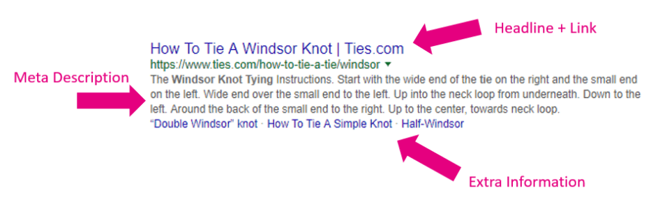 windsor knot search result broken down