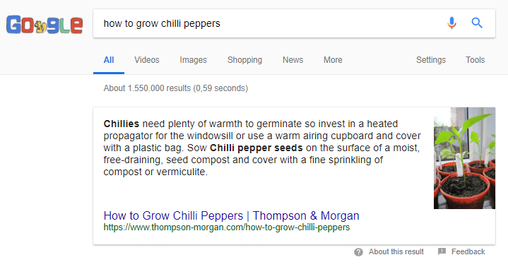 google search grow chilli's