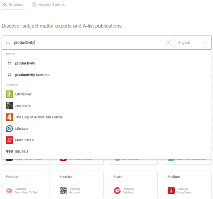 Feedly productivity search