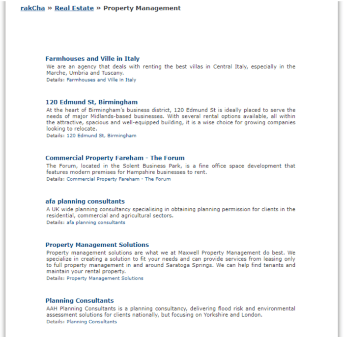 Property management directory example