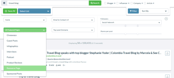 all featured pages filter ninja outreach