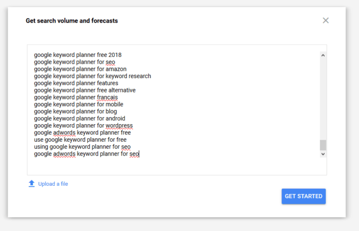 paste your list of keywords