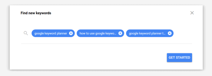 Google Keyword Planner Example Search