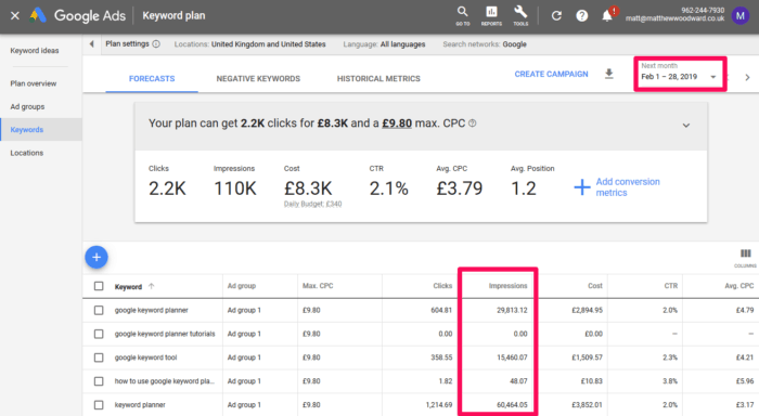 how to view exact search volumes in google keyword planner