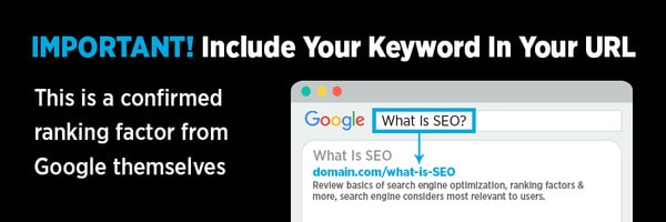Include your keyword in your URL