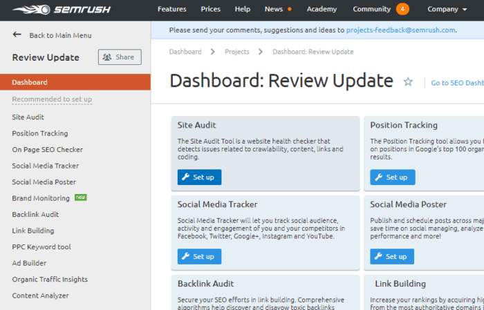 Seo Software  Semrush Features New