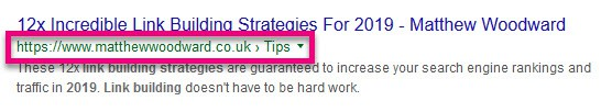 breadcrumb in the serps