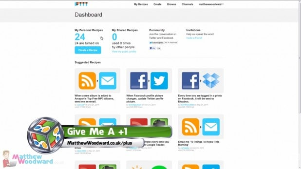 IFTTT tutorial dashboard