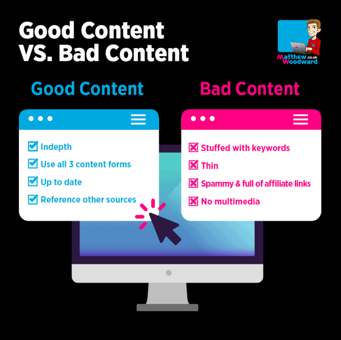 good website content vs bad website content