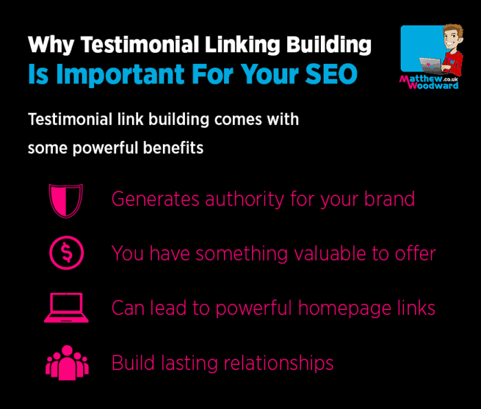 testimonial link building benefits