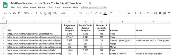 content audit spreadsheet template