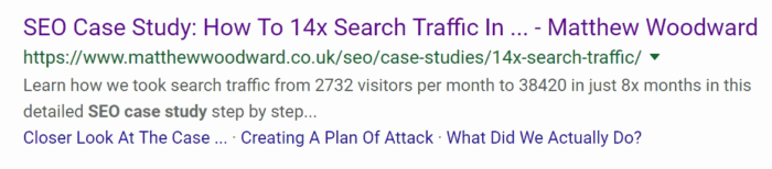 Clickable Links Google SERPs