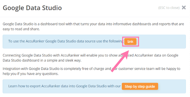 AccuRanker Google Data Studio Link