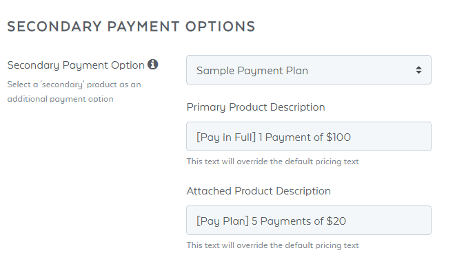 SamCart Secondary Payment Options