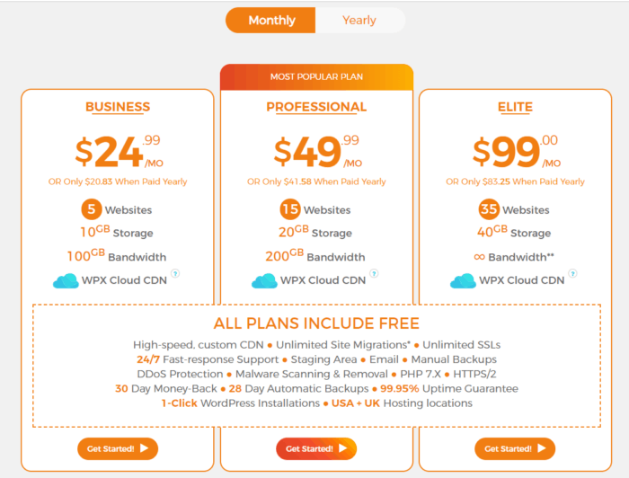 WPX Monthly Pricing Plans
