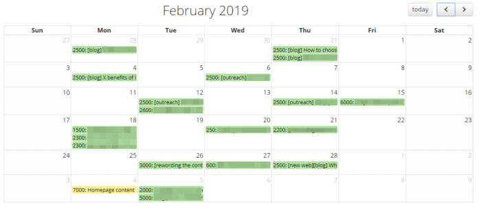 Monthly Posting Schedule