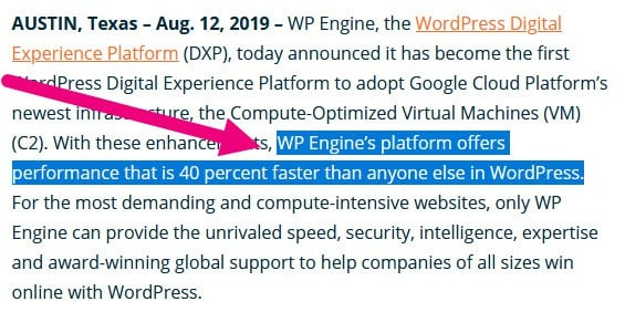 WP Engine claiming they offer the fastest wordpress hosting by 40%