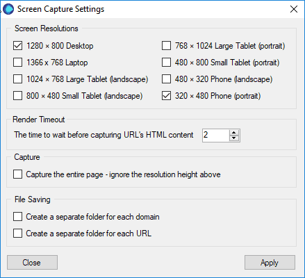 Set up your options screen capture