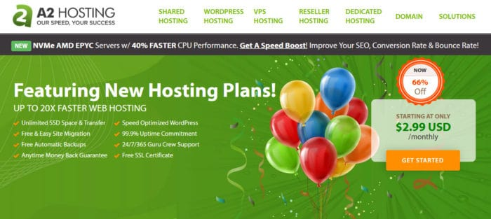 start a blog with A2hosting