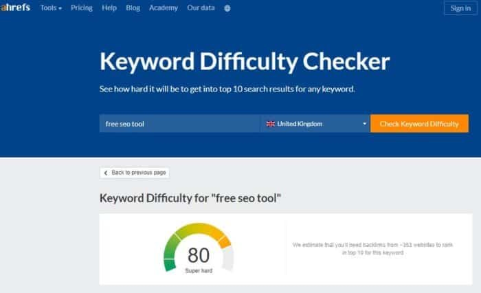 ahrefs keyword difficulty checker