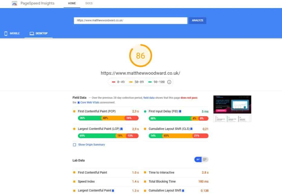 pagespeed insights seo free tool