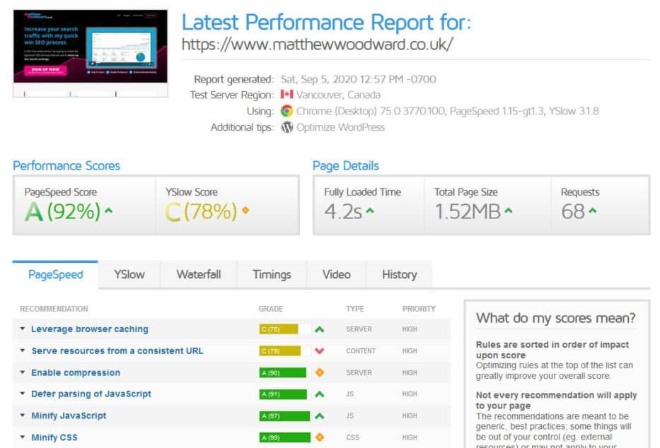 gtmetrix performance report
