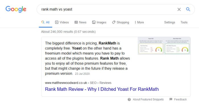 winning the featured snippet