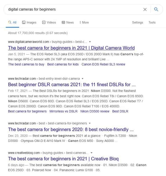 observe search results for user intent