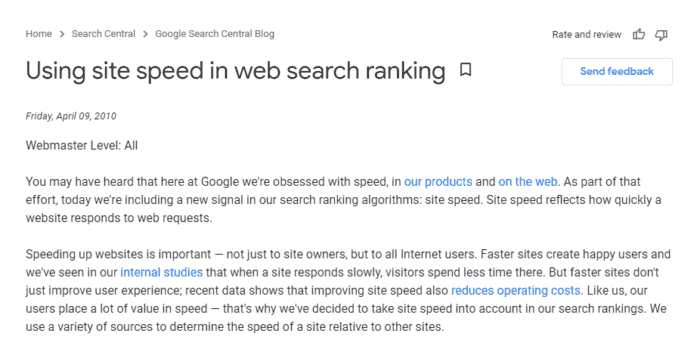 Google Search Central Blog- Site Speed