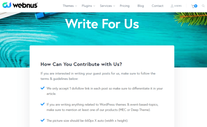 Write For Us - Page Example