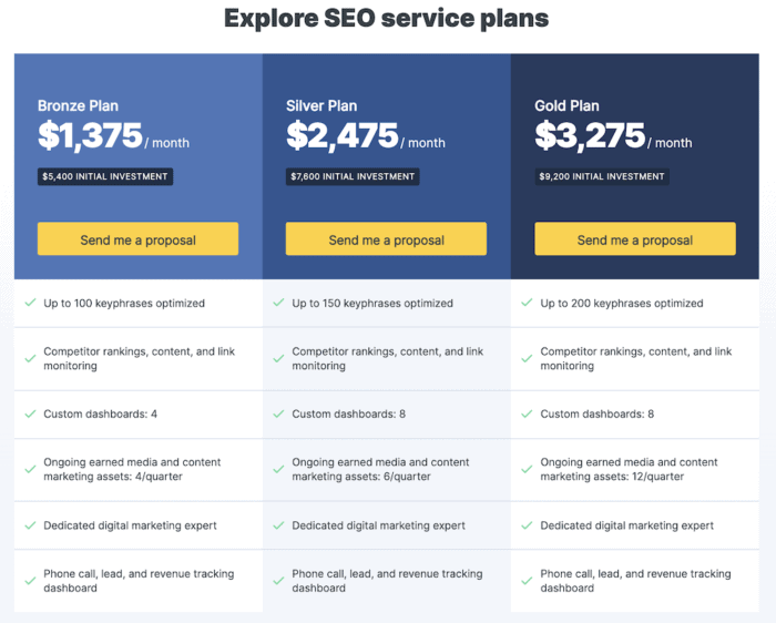 different seo packages with included services