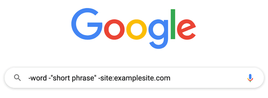 example search operators to exclude words from google search
