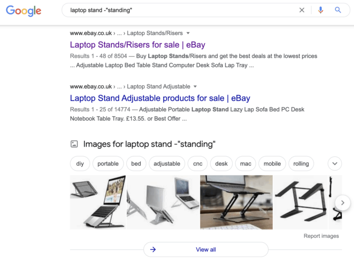 google search results laptop stand minus standing