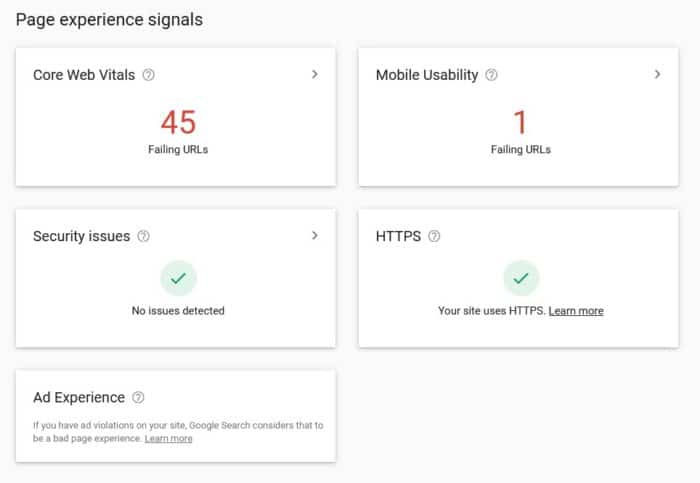 Page Experience Signals - Google Search Console