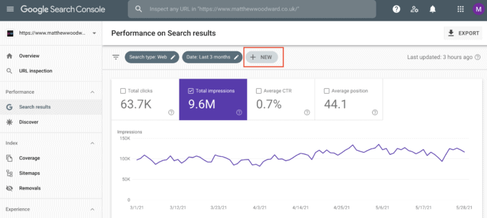 clicking new performance google search console