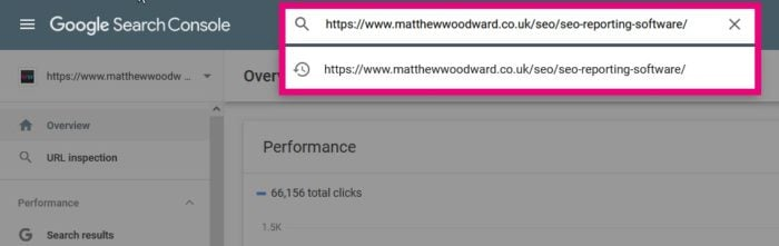 inspecting url google search console