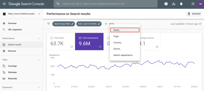 filtering search query google search console