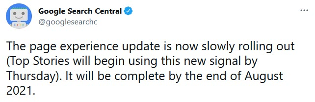 google page experience update announcement