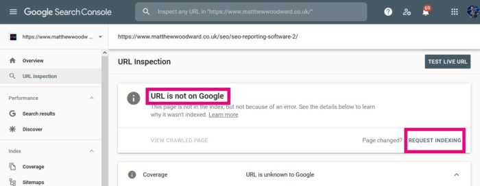 requesting indexing google search console